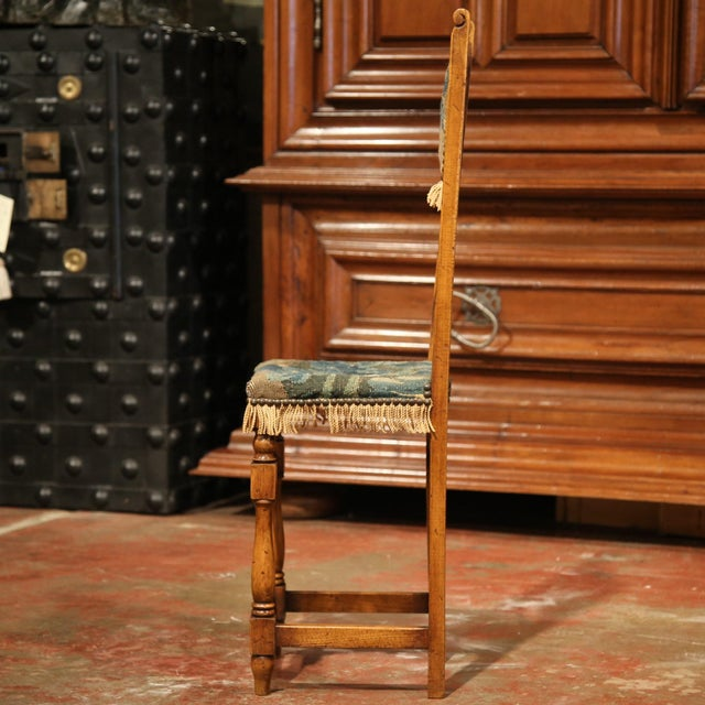 Blue 18th Century French Walnut Baby Chair with Aubusson Tapestry For Sale - Image 8 of 9