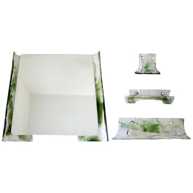 Italian Murano Glass Bathroom Set by Mazzega For Sale