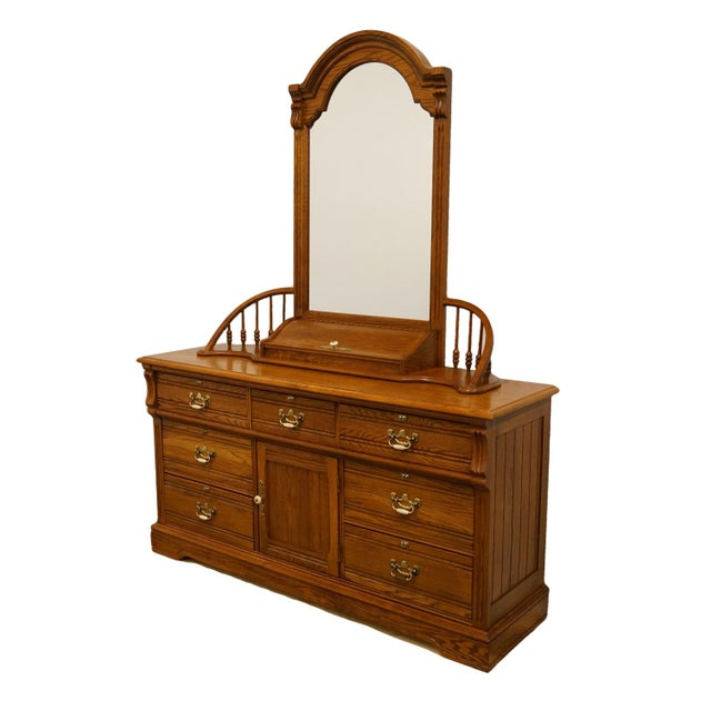 """20th Century Traditional Lexington Furniture Recollections Collection Solid Oak 64"""" Triple Door Dresser with Mirror For Sale - Image 13 of 13"""