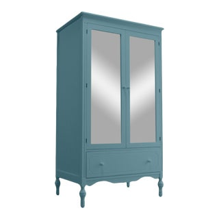 Country Cottage Style Custom Crafted Painted Solid Pine Mirrored Armoire