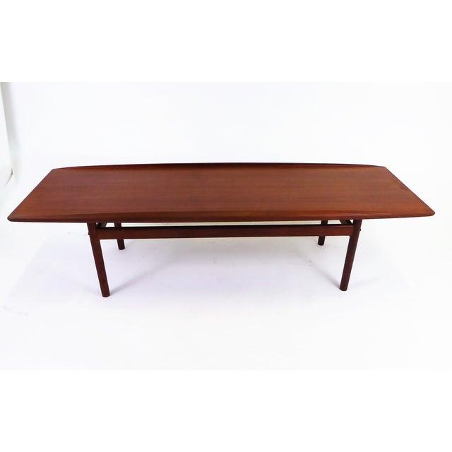 Distinguished Mid Century Grete Jalk Teak Surfboard Coffee Table For