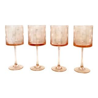Etched Pink Crystal Wine Glasses - Set of 4