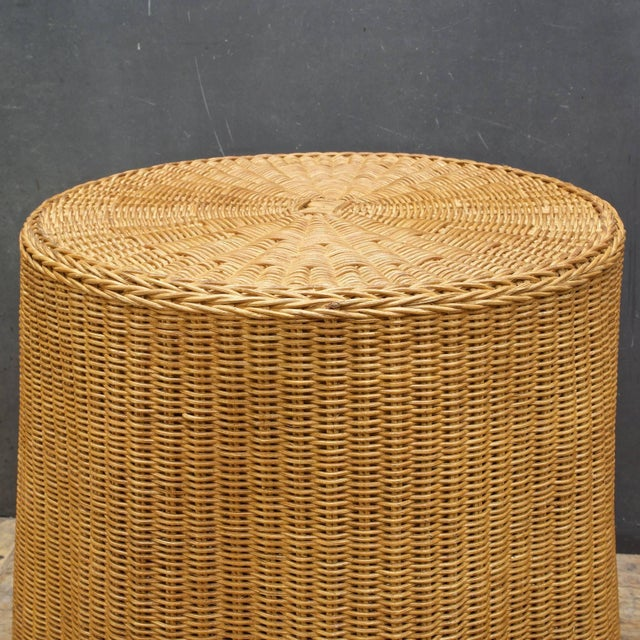1960s Trompe l'Oeil Rattan Draped Wicker Ghost Entryway Table Pedestal Mid-Century For Sale - Image 5 of 9