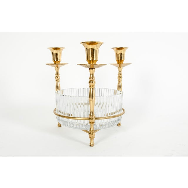 Cut Crystal / Gilt Brass Holding Candlestick Decorative Piece For Sale - Image 13 of 13
