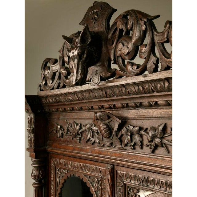 Antique French Carved Oak Hunt Cabinet For Sale In Chicago - Image 6 of 10