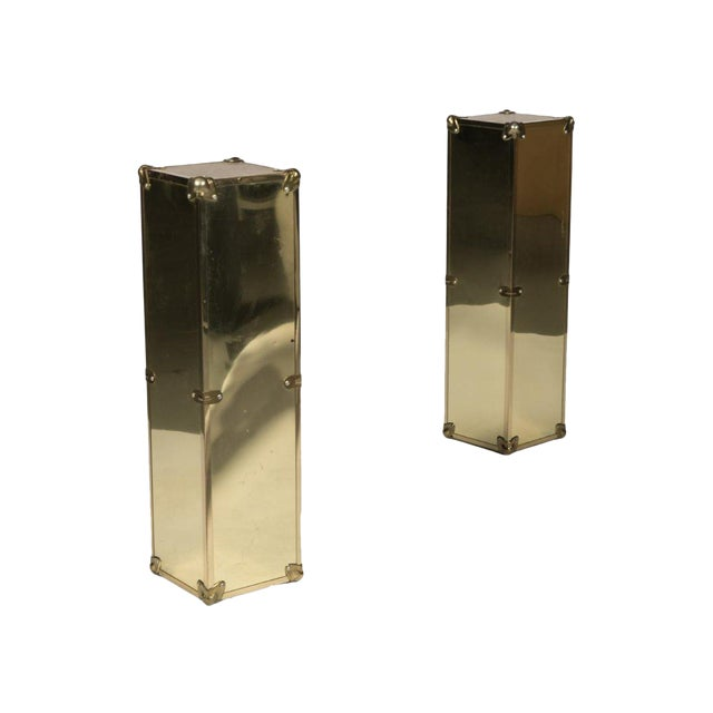 Campaign Style Brass Pedestals - A Pair For Sale