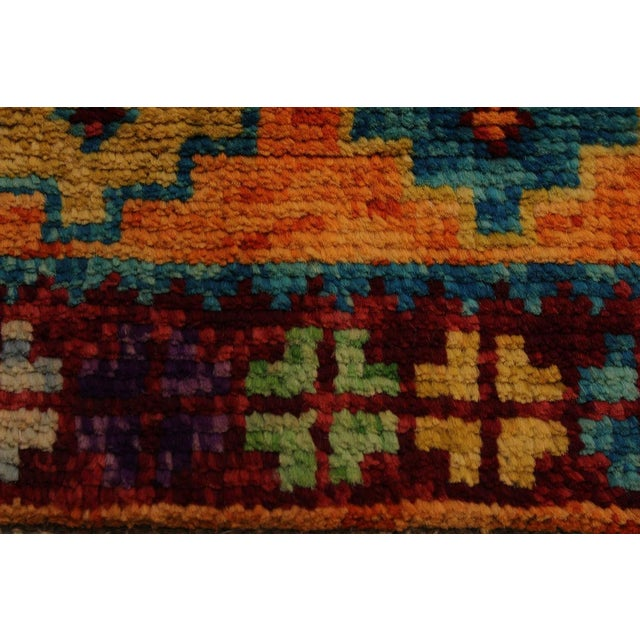 Balouchi Esmerald Orange/ Blue Wool Rug - 3'7 X 4'11 For Sale - Image 4 of 8