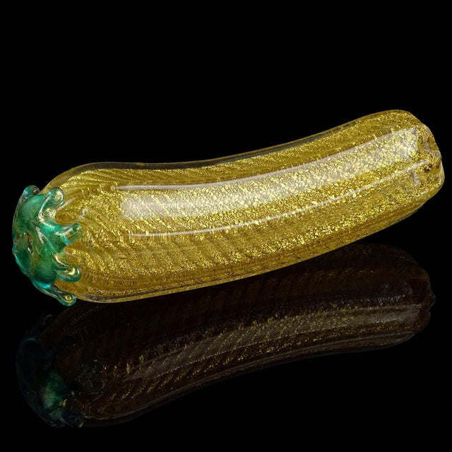 Glass Barovier Toso Murano Vintage Gold Flecks Italian Art Glass Mid Century Grapes Gourds Pepper Fruits - Set of 5 For Sale - Image 7 of 9