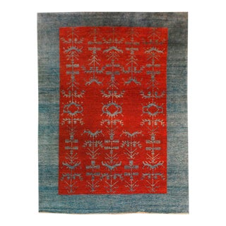 Vintage Gaba Blue and Red Rug 6x9