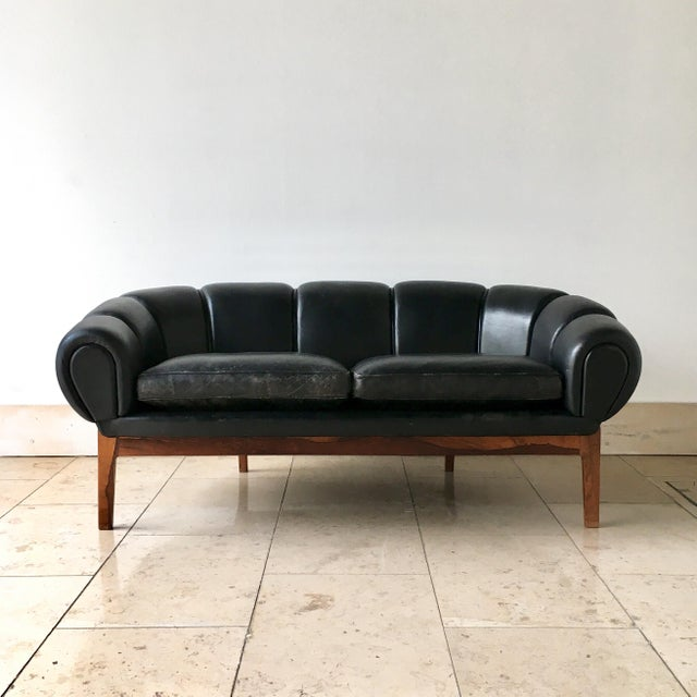 Animal Skin Black Leather Danish Sofa Designed by Illum Wikkelso 1950s For Sale - Image 7 of 7