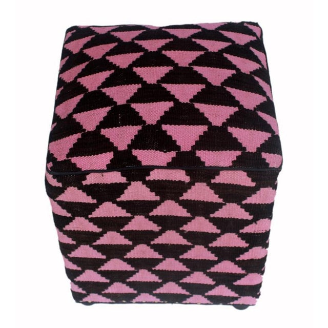 Arshs Diedra Black/Pink Kilim Upholstered Handmade Ottoman For Sale - Image 4 of 8