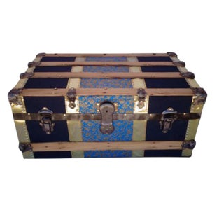 18th Century Industrial Blue & Brass Steamer Trunk For Sale