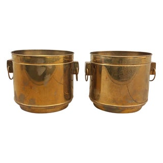 Large Vintage Modern Brass Planters