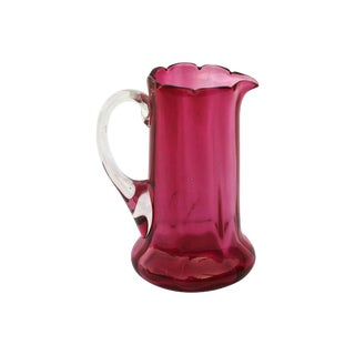 Victorian Cranberry Glass Petite Pitcher For Sale