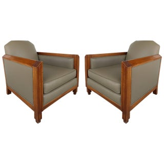 1940s French Skyscraper Club Chairs - a Pair For Sale