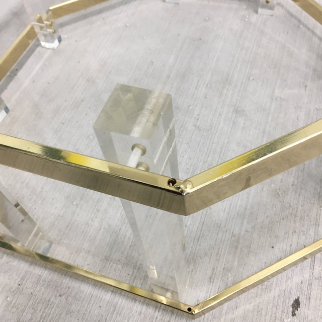 Charles Hollis Jones Vintage Mid-Century Lucite Brass Octagonal Coffee Table Base For Sale - Image 4 of 9