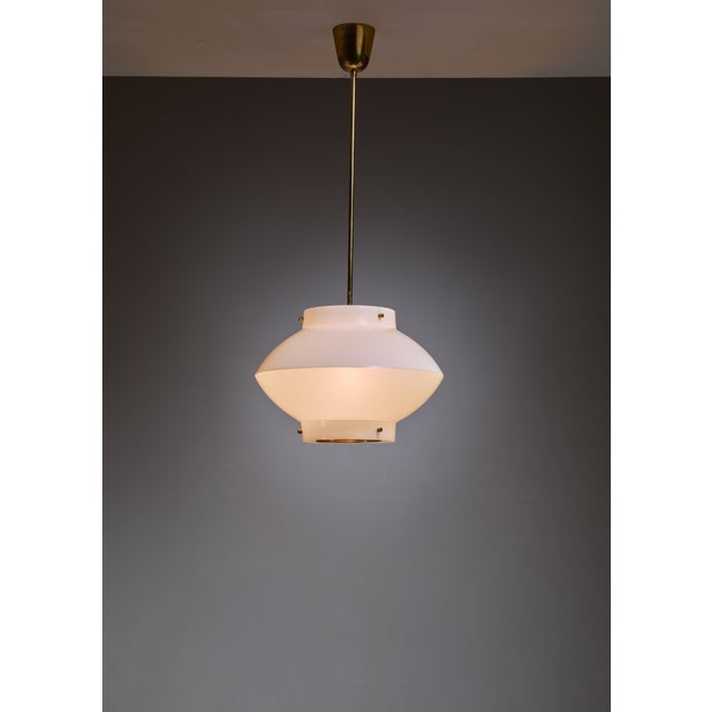 Mid-Century Modern Yki Nummi One of Three White Plexiglass and Brass Pendants for Orno, Finland For Sale - Image 3 of 5
