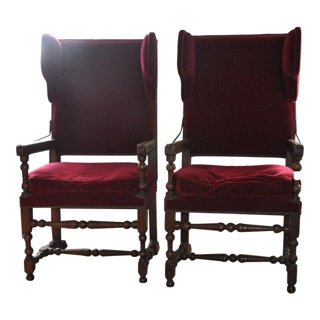 Louis XIII/IV Walnut & Red Velvet Adjustable Armchairs - Pair - Image 1 of 7