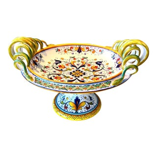 Deruta Hand Painted Majolica Pedestal Bowl With Serpentines, 1980's For Sale
