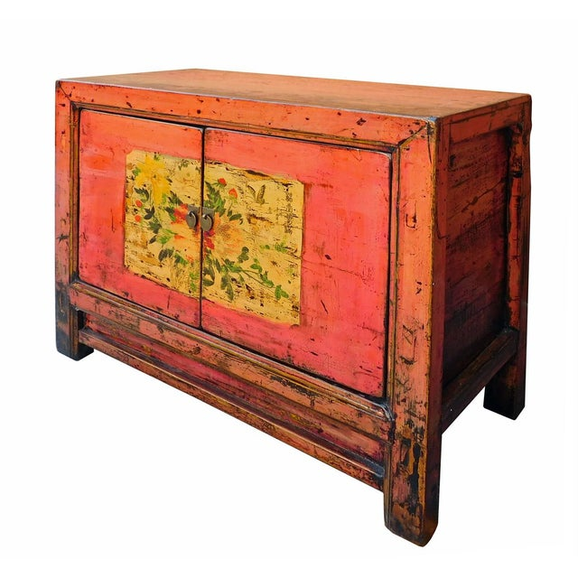 Distressed Chinese Pink Floral Console Cabinet - Image 4 of 8