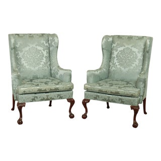 Chippendale Style Custom Quality Mahogany Caved Ball and Claw Wing Chairs For Sale
