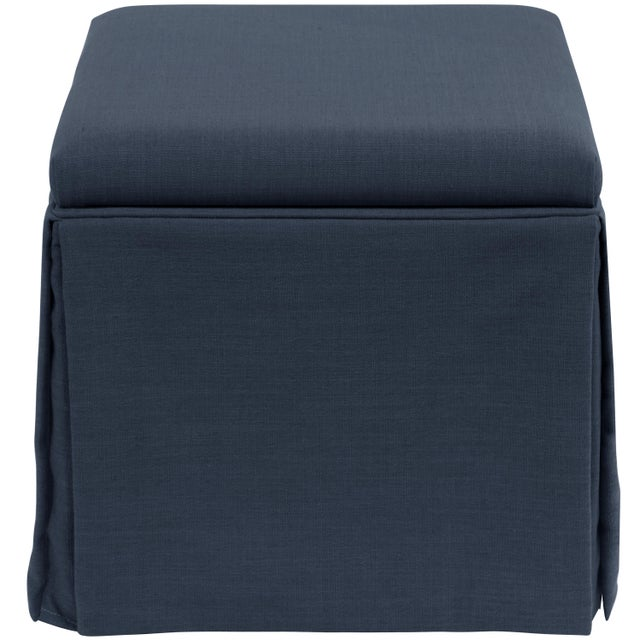 Spritely Home Skirted Storage Ottoman in Linen Navy For Sale - Image 4 of 7