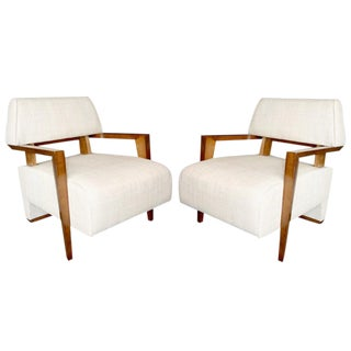 Art Deco White Upholstered French Armchairs - a Pair