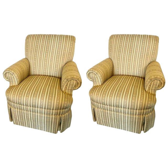 Pair of Hollywood Regency Style Custom Overstuffed Arm/Lounge Chairs Fine Fabric For Sale