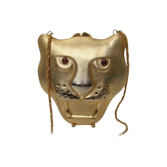 Saks Fifth Avenue Gilt Metal Panther Evening Bag Made in Italy For Sale