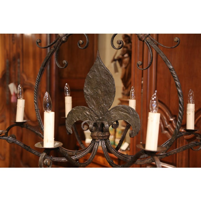 Large 19th Century French Wrought Iron Eight-Light Chandelier With Fleur-De-Lys For Sale In Dallas - Image 6 of 10