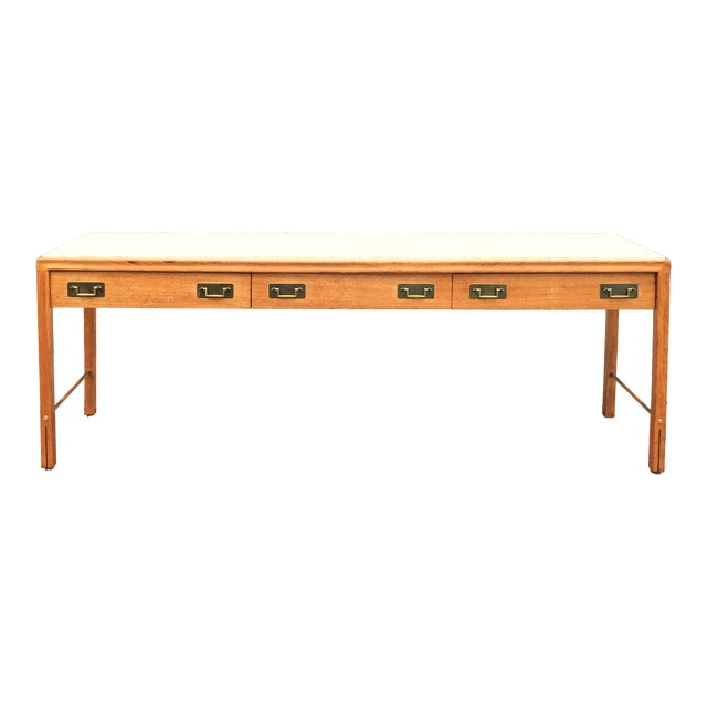 1960s Mid-Century Modern Gerry Zanck for Gregori Long Travertine Sofa/Console Table For Sale
