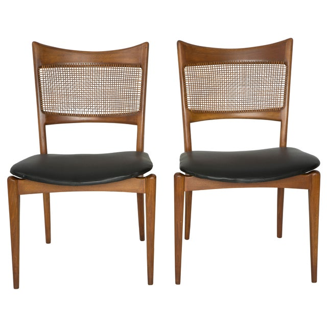 Jens Risom Style Woven Back Chairs - Pair - Image 1 of 9