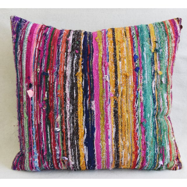 Custom-tailored pillow created from vintage/professionally dry-cleaned Turkish rag rug textiles depicting colorful...