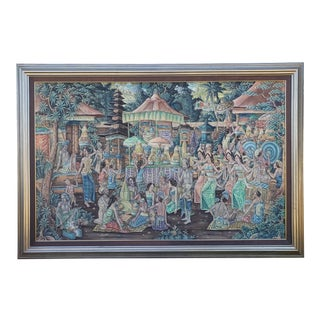Circa 1970 Balinese Ubud Marketplace Scene Painting on Canvas by K. Nana For Sale