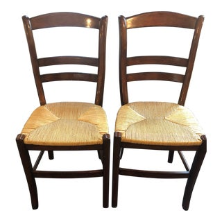 Pottery Barn Isabella Mahogany Dining Chairs - A Pair For Sale