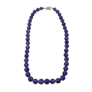 Vintage Faceted Amethyst Bead Necklace Silver Clasp For Sale