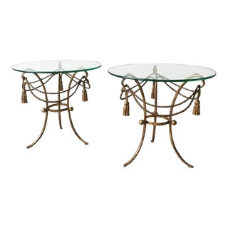 1960s Italian Gilt Metal Tassel Tables - a Pair For Sale