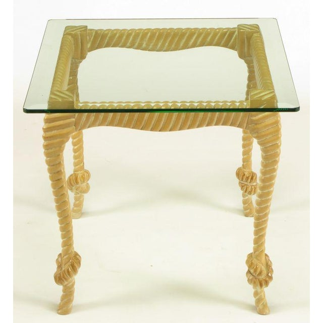Contemporary Carved & Limed Wood Knotted Rope End Table For Sale - Image 3 of 8