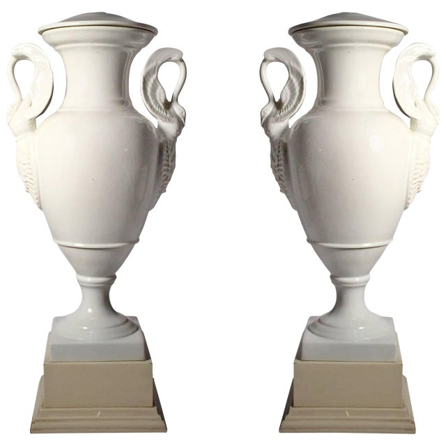 Pair of Large Limoges White Porcelain Table Lamps For Sale