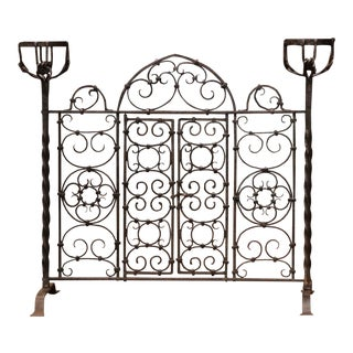 19th Century French Forged Iron Double Door Fireplace Screen With Bowl Holders For Sale