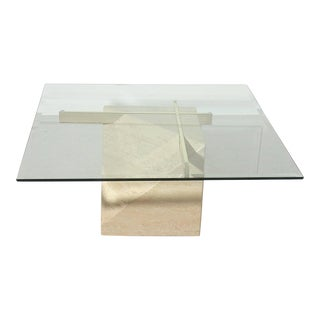 Italian Travertine and Brass Coffee Table by Artedi For Sale
