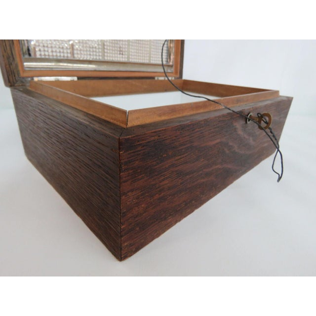 Early 20th Century Early 1900s Oak Tabletop Cigar Tobacco Humidor Chest Box For Sale - Image 5 of 11