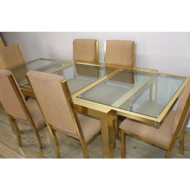 Brass 1990s Mid-Century Modern Brass Dining Table and Chairs - 7 Piece Set For Sale - Image 7 of 11