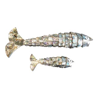 Pair of Abalone Shell Fish Sculptures in the Style of Los Castillos For Sale