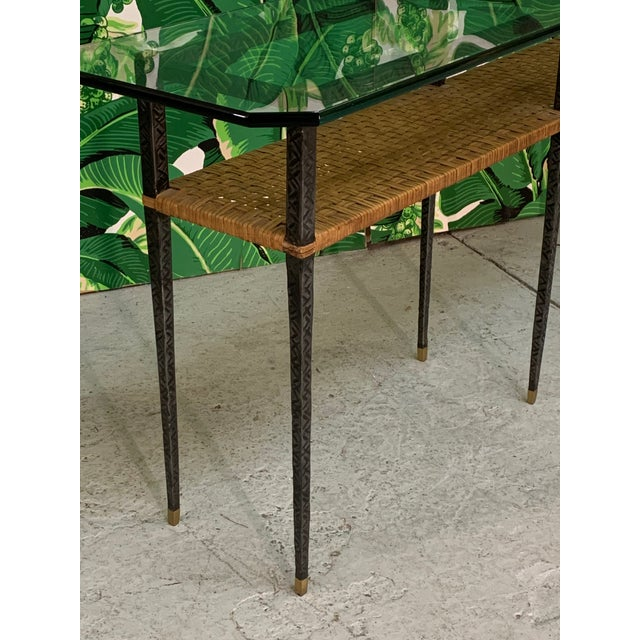 Metal Steel and Rattan Console Table For Sale - Image 7 of 11