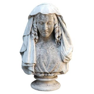 Carved Stone Bust of Woman For Sale