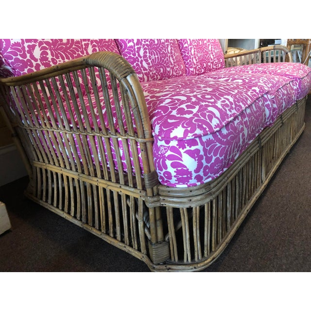 Traditional Vintage Rattan Settee For Sale - Image 3 of 4