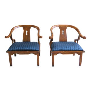 Mid-Century James Mont Style Ming Chinoiserie Accent Chairs - a Pair