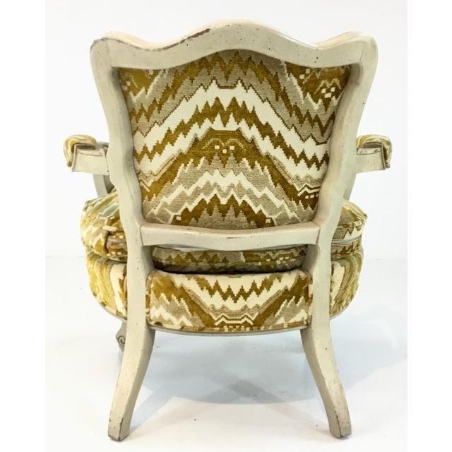 Vintage French Gold Cut Velvet Slipper Chair Pair For Sale In Atlanta - Image 6 of 7