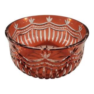 Handmade Cranberry Art Glass Bowl For Sale